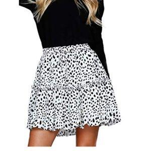 Dresses & Skirts - Flared Polka Dot Pleated Mini Skater Skirt
